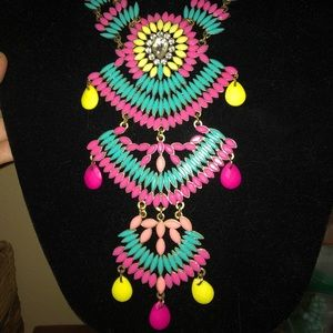 Colorful multi stone statement necklace